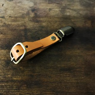 Italian vegetable tanned leather hand hat clip