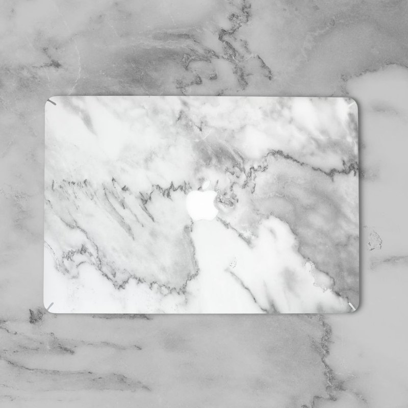 Original White 3 Marble Macbook Label Protector