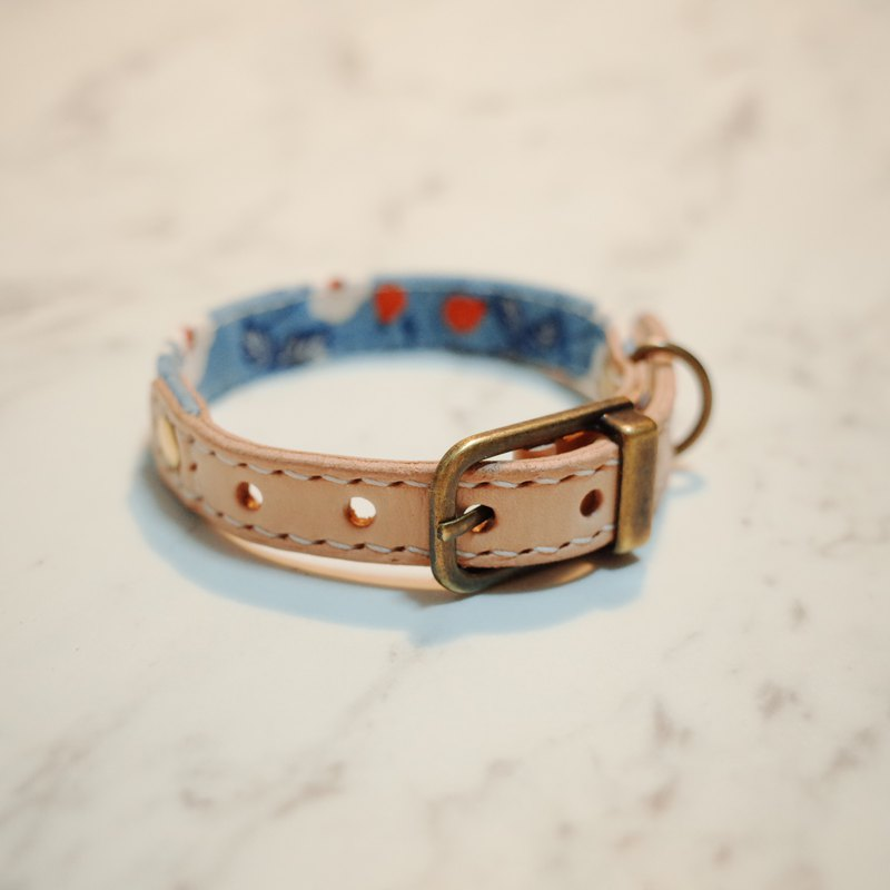 Dog cat collar S cotton candy blue can add hang tag with bell