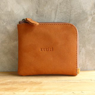 Wallet - Side / Leather Wallet / Leather Bag - Tan (Nubuck Cow Leather)