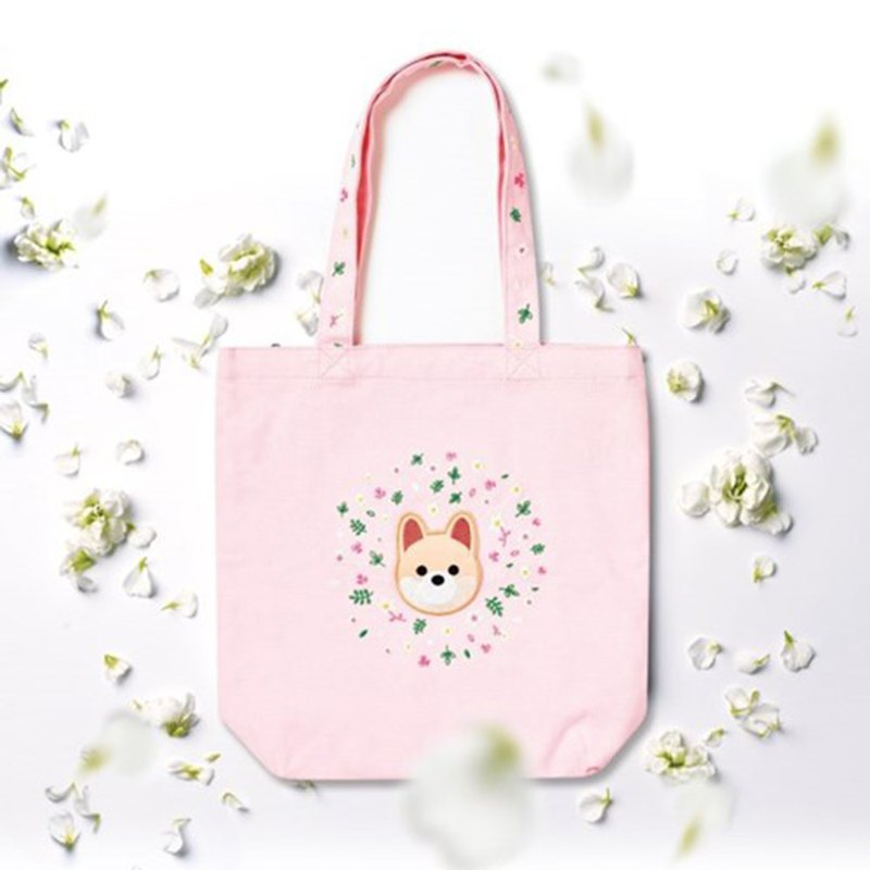 Pomeranian shoulder portable dual-use canvas embroidery bag