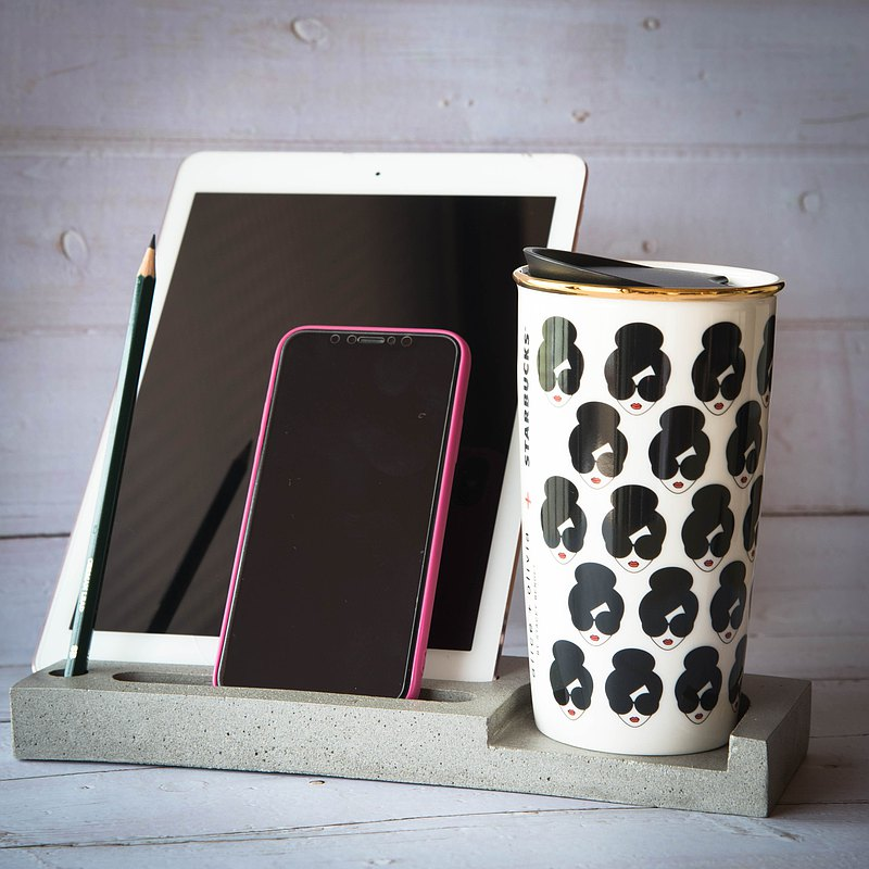 Cement ipad tablet phone coaster pen business card holder