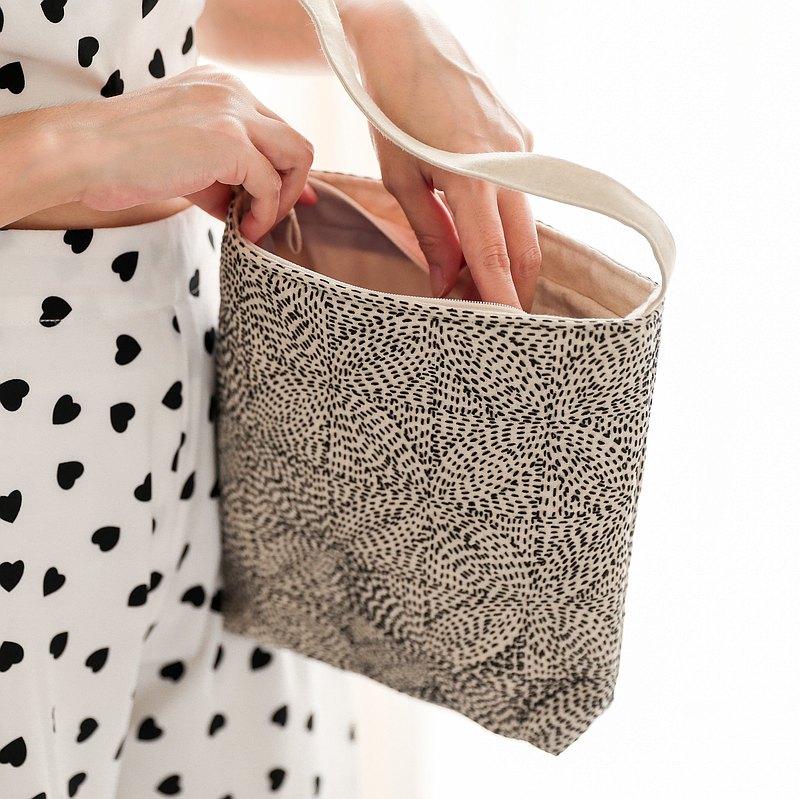 正品亞麻布袋手繡拉鍊和襯裡-米色,黑色螺紋