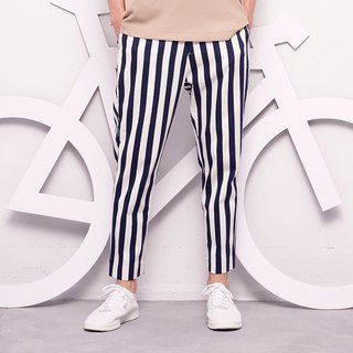 Stone@s Printed Stripes Trousers / Dark Blue Striped Cropped Pants