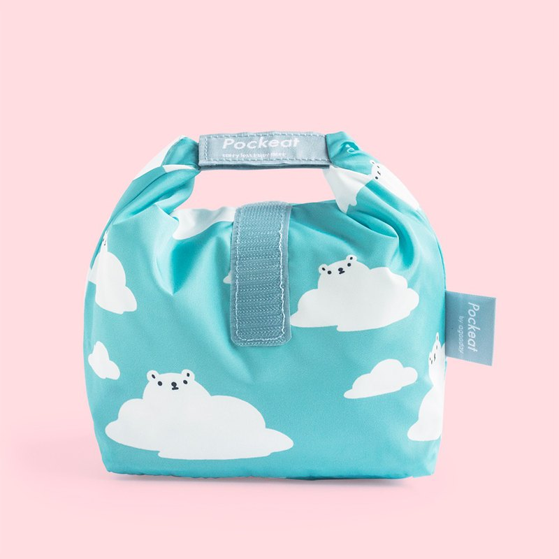 Good day | Pockeat green food bag (small food bag) - white and white clouds