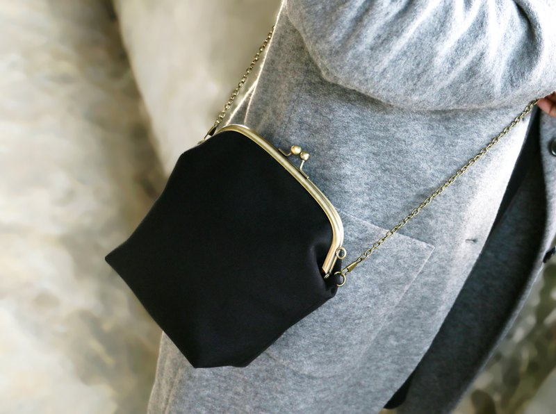 [Black X Red] Gold Bag / Side Backpack Crossbody Shoulder Bag Canvas Bag / Bronze Gold Bag
