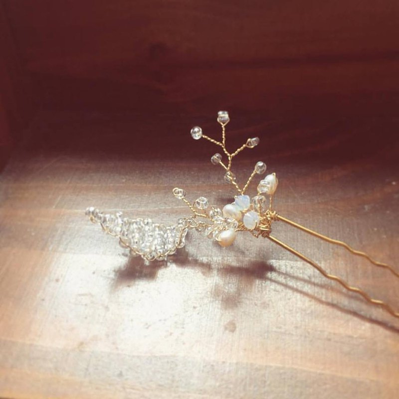 Simple Natural Style - Swarovski Protein Crystal Pearl Bridal Hair Accessories, Wedding Headpiece
