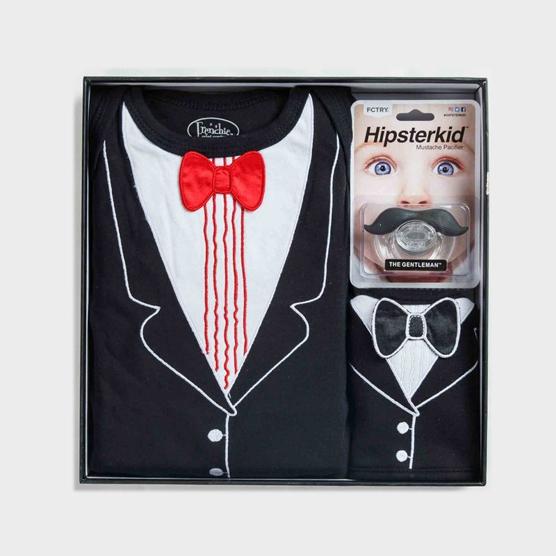 American FMCXHipsterkid baby boy gift box - small labor dumpling banquet version of the jumpsuit + bib + pacifier