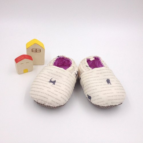 HBS handmade doll shoes - text green cat