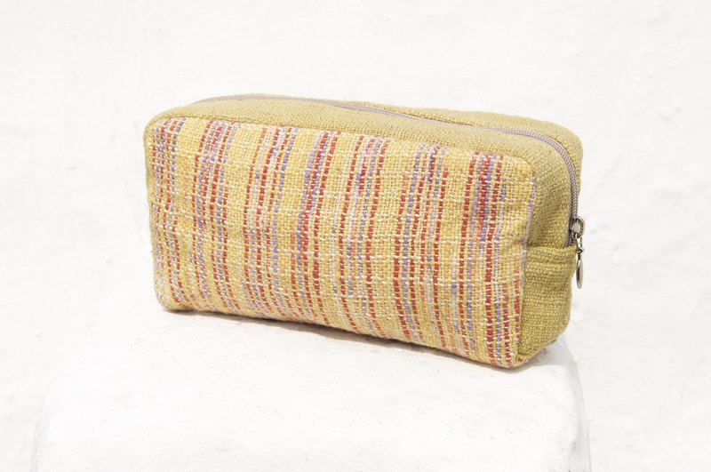 Mother's Day gift graduation gift Valentine's Day gift birthday gift a limited edition / feel woven pencil bag / cosmetic bag / stripe woven pencil bag / ethnic wind pouch / cotton woven pencil bag - walk in the golden sunset
