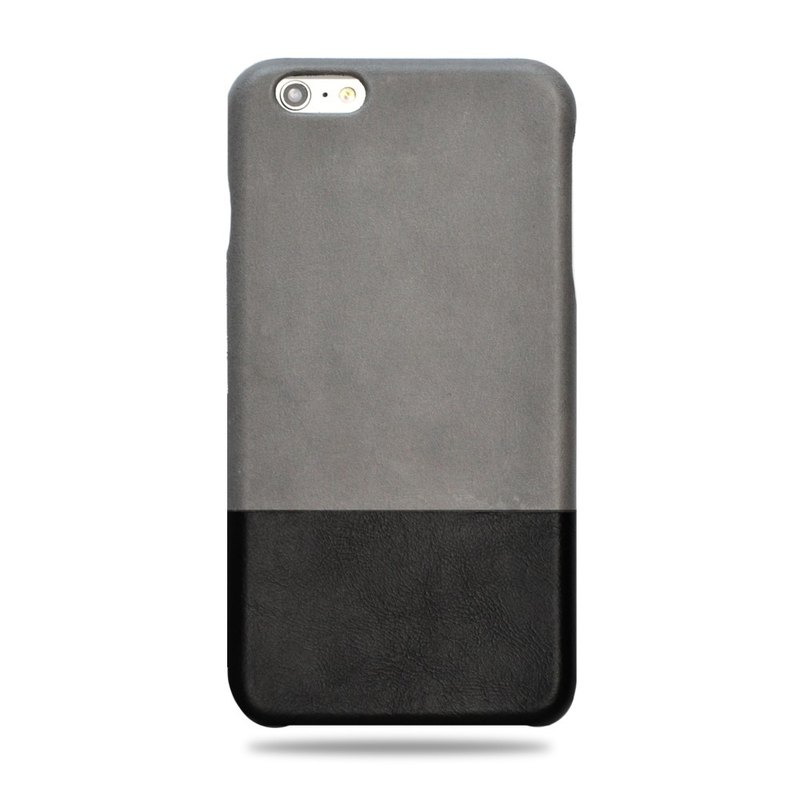 Customized light grey with full black leather IPHONE 6 Plus case