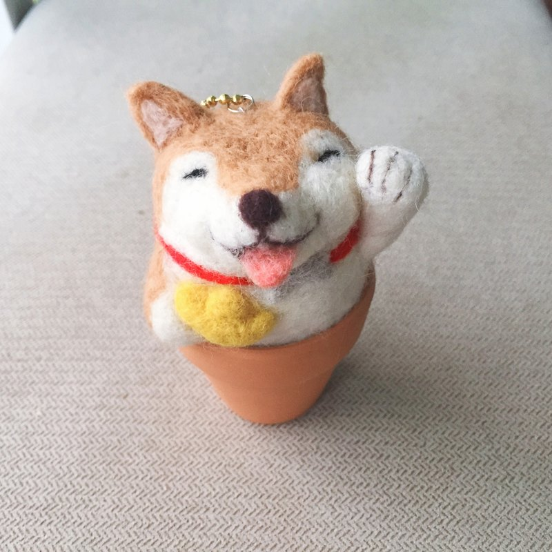 Lucky Fortune_Wang Choi dogs to the rich ingot Sheepskin felt pots pendants Dog Year of the dog firewood bonsai pot ornaments Lucky Fortune auspicious ingot cornucopia
