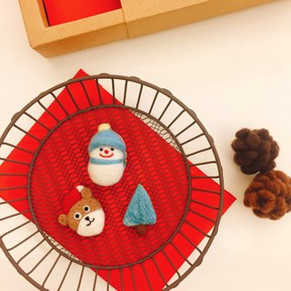 Christmas limited - wool felt three-point group Bear Christmas / blue gradient tree / warm snowman
