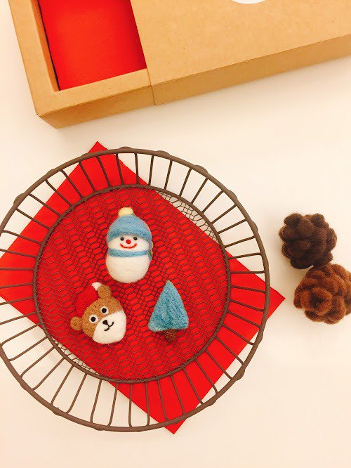 Christmas limited - wool felt pin three-piece Christmas bear / blue gradient tree / warm snowman
