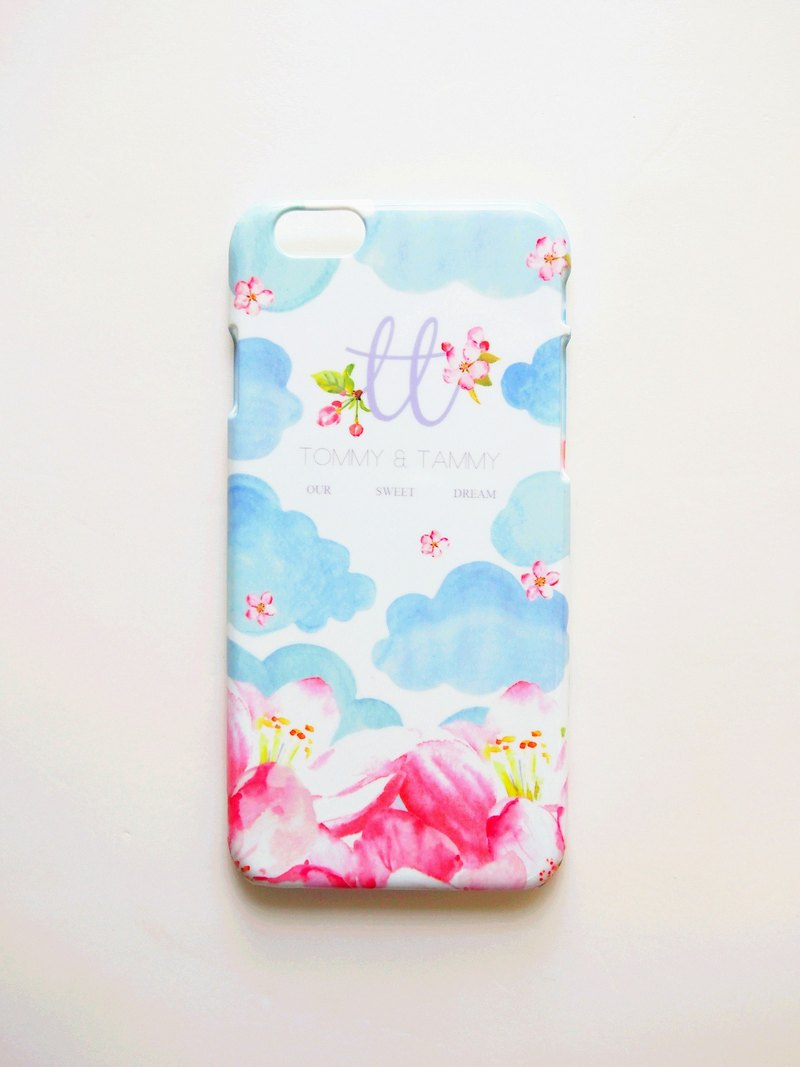 OUR SWEET DREAM blue sky clouds pink flower Phone Case (including printed name service)