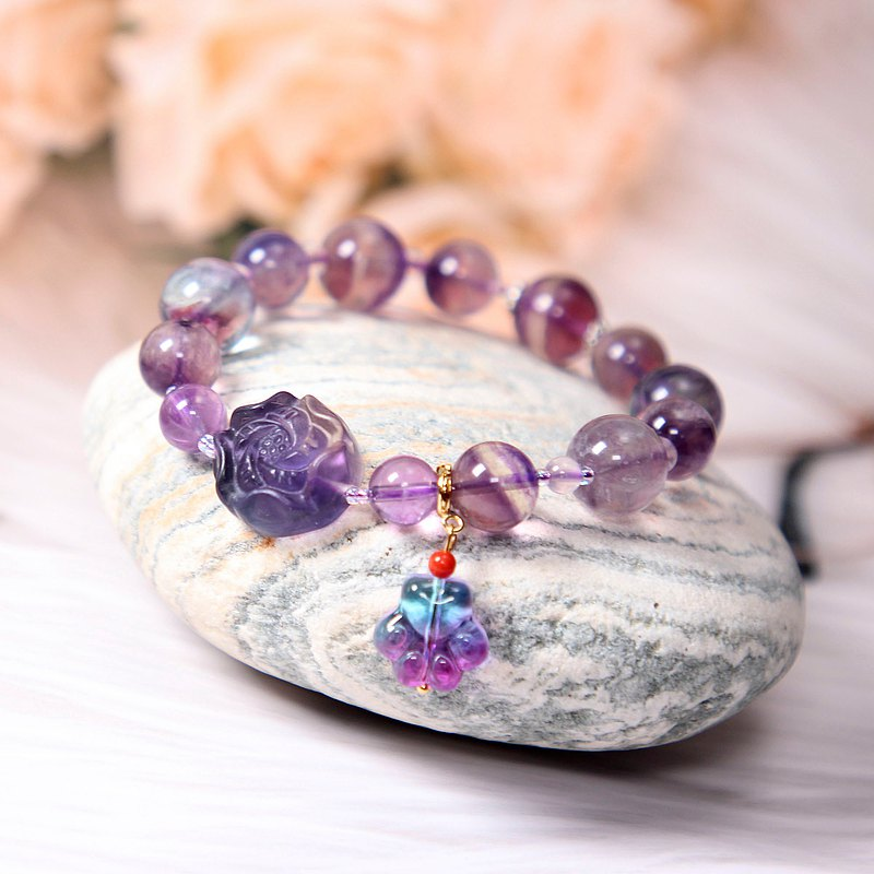 Fluorite single circle bracelet vision rare thousand-layer pattern fluorite carved flower with amethyst glazed cat claw pendant