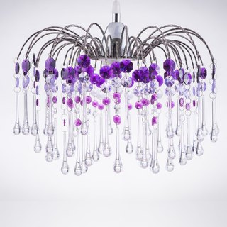 BNL00041- chrome waterfall bracket purple acrylic beads chandelier