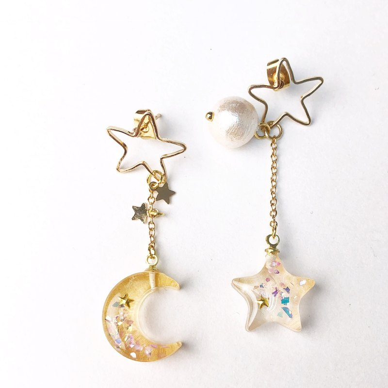 Shiny Moon and Star Earrings