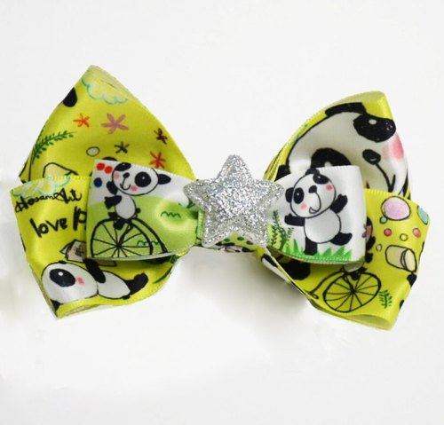 HosannArt DIY handmade cute panda pattern with yellow background headdress clips/hair accessories