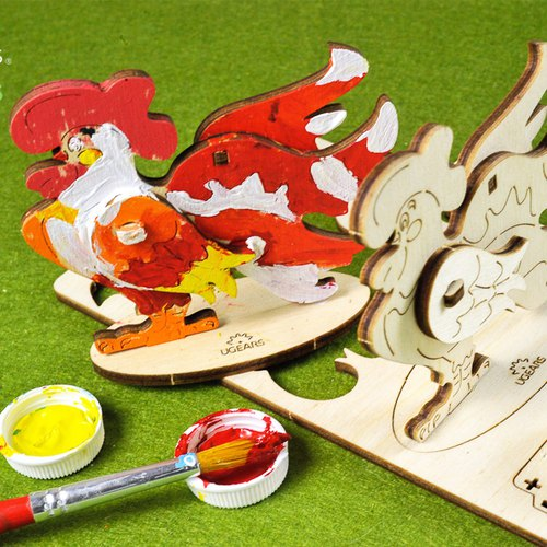 /Ugears/ Ukrainian wooden model coloring small cock