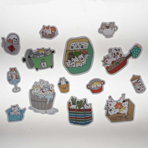 "Three cat shop ~ ""cat container"" waterproof stickers"