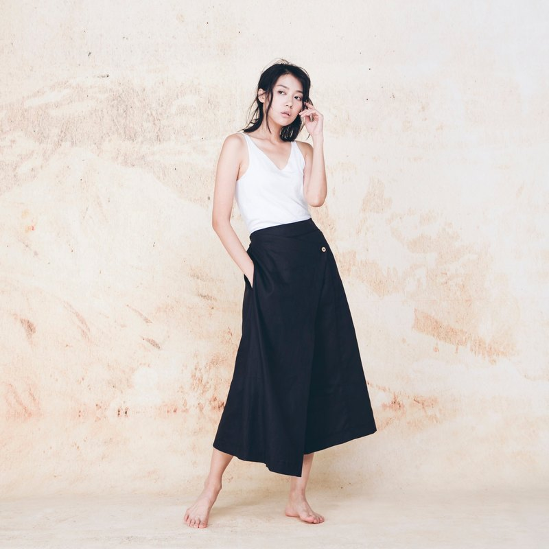 Handmade cotton low-cut trousers - Black