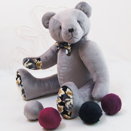 Teddy Bear Tachai handmade texture gray 50cm color and embroidered finished products