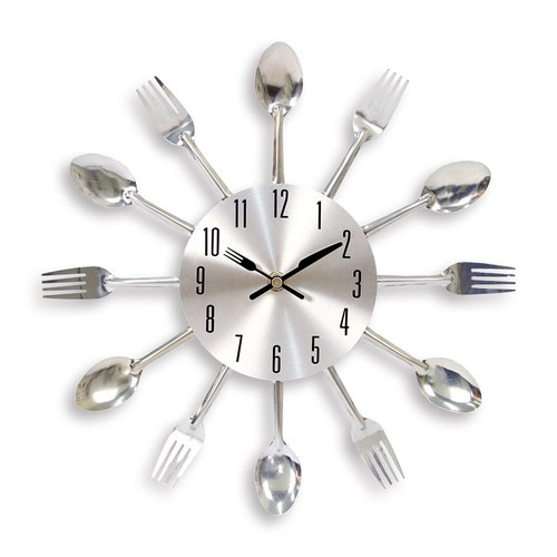 HomePlus Tableware Metal Clock Decor with fork and spoon