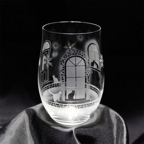 [Western-style building in winter] Cat motif tumbler glass vol.4