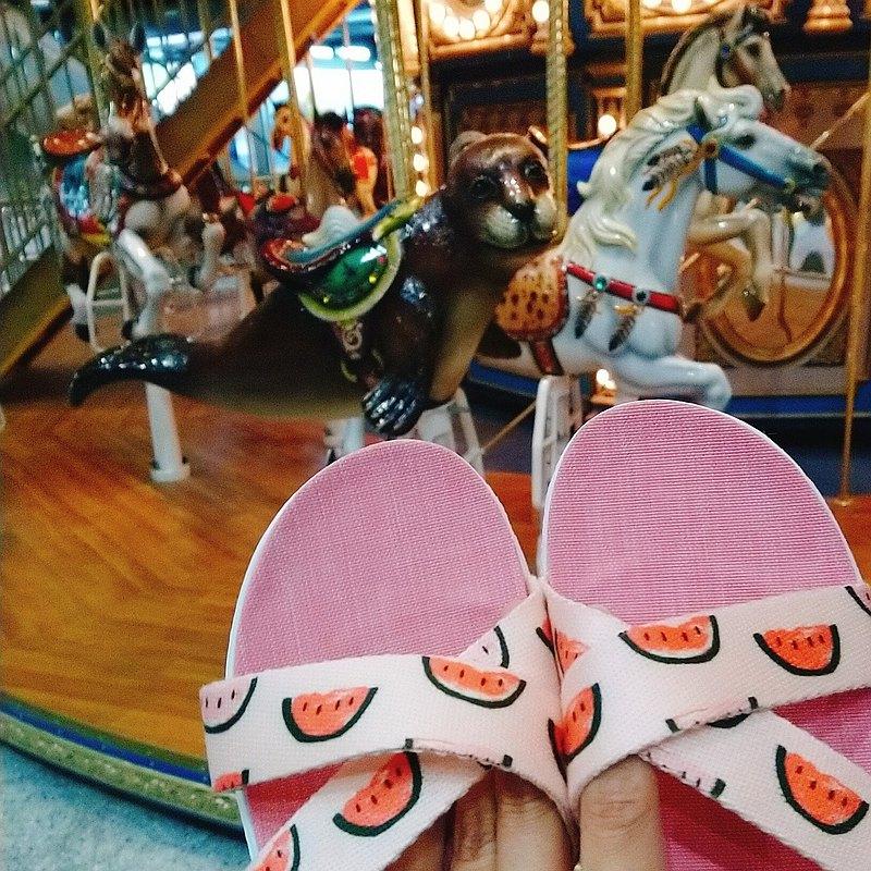 親膚減壓輕量舒適 / 台灣手作室內拖鞋 l 粉愛西瓜 / 粉底色