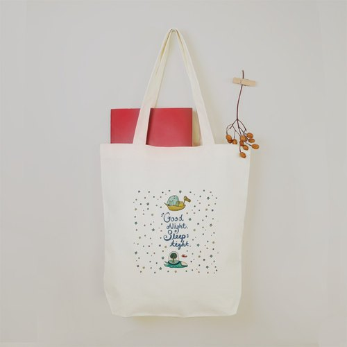 (Space Cat) Goodnight Snow White Star Original Handmade canvas Tote Bag (White)