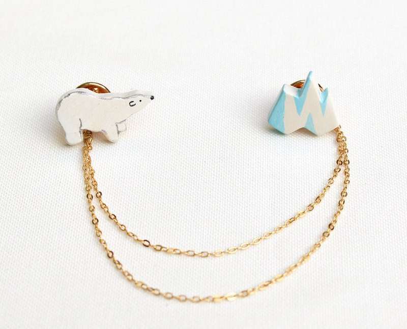 Handmade polar bear and iceberg brooches