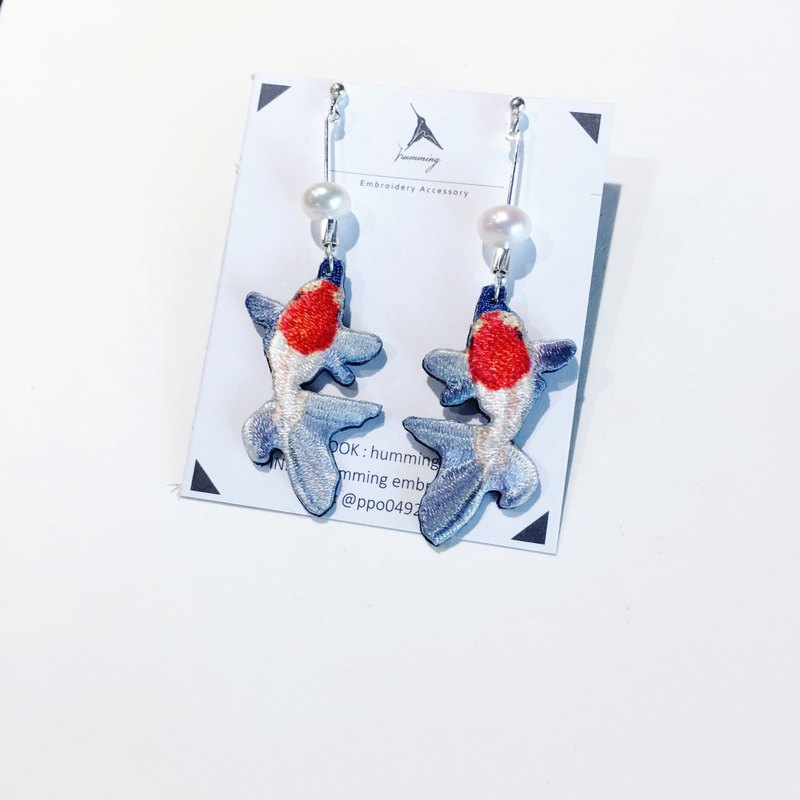 Red Goldfish <Embroidered Earrings> 925 Silver / Can Clamp / Aquatic Series /
