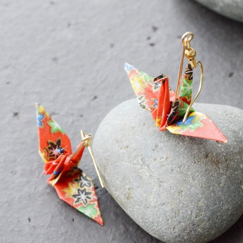 Autumn-Red Origami Crane Earrings