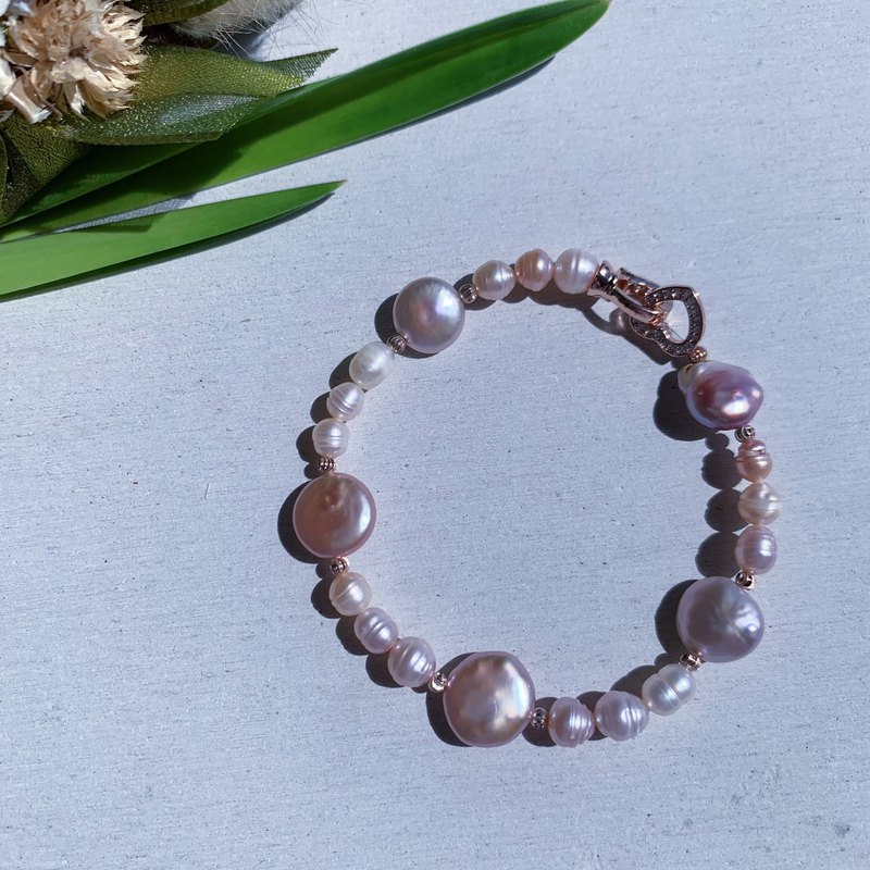 Natural Freshwater Pearl Button Pearl Thread Bead Bracelet