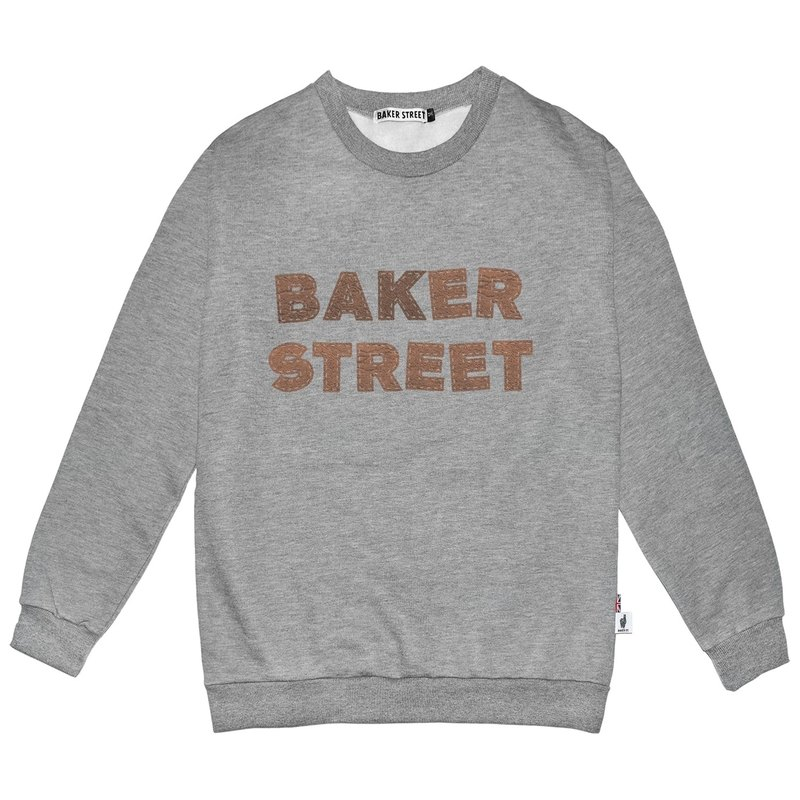 British Fashion Brand -Baker Street- Leather Letters Printed Sweater