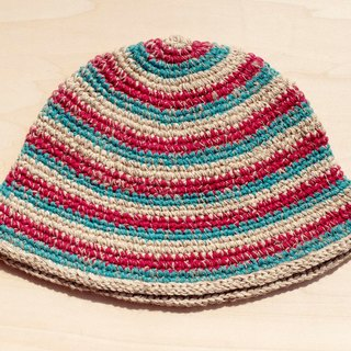 A limited edition hand-woven hat / hand-woven cotton cap / hand-woven hat - red and green stripes