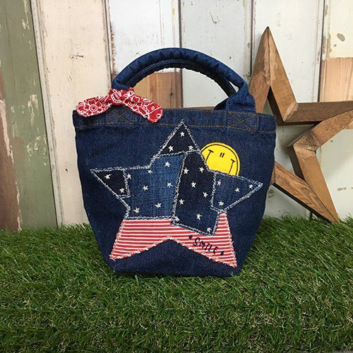 Hyokkori American Star Denim Mini Tote