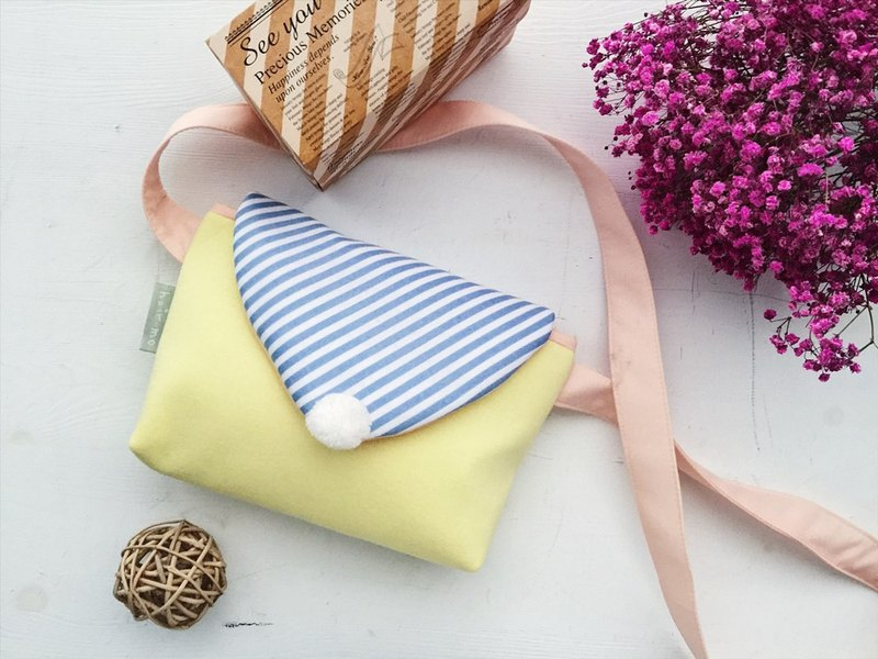hairmo stripe Macaron zipper side backpack - yellow and blue stripes