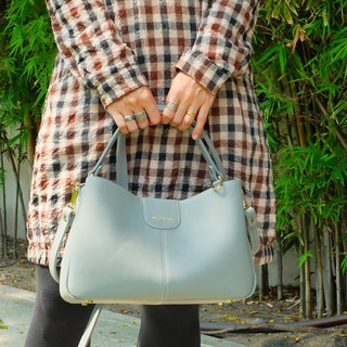กระเป๋าถือหนังแท้ Valley Pastel Blue Grey Genuine leather Classic Oil wax