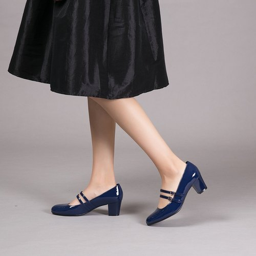 [Dream Miss] double belt full leather Mary Jane heel shoes - Stone Blue
