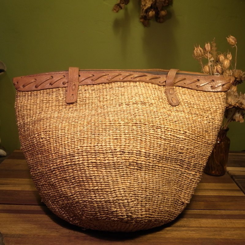 Old bone rattan x leather shoulder bag VINTAGE