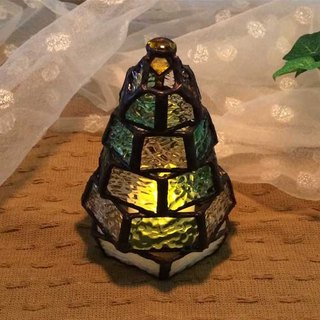 [Small fir tree lamp] stained glass mini-lamp (with LED light)