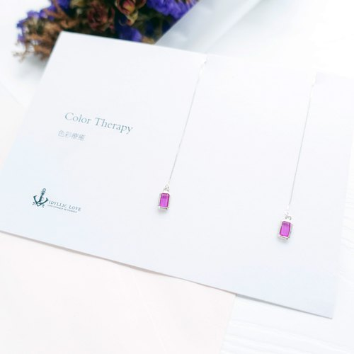 <CANDY>Mini Crystal Silver Chandelier Earrings Postcard Gift