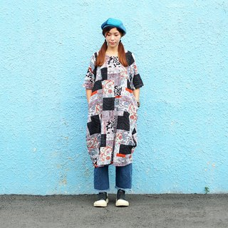Maverick Village cotton and linen comfortable loose dress long coat [Collage Black Ocean] black ash J-41 limited edition