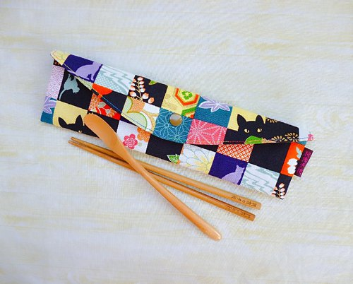 (Hard version) Wind black cat phantom lengthen to increase the version of environmental protection tableware package chopsticks set straw bag