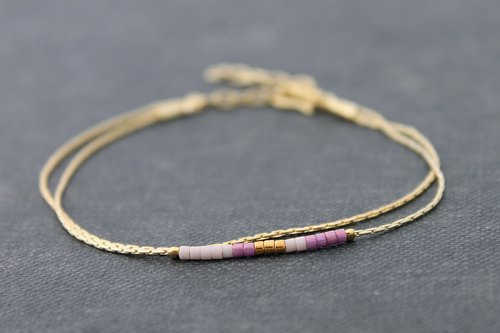 Delicate Beaded Bracelets, Miyuki Beads Bracelets, Petite Minimal Purple Mix