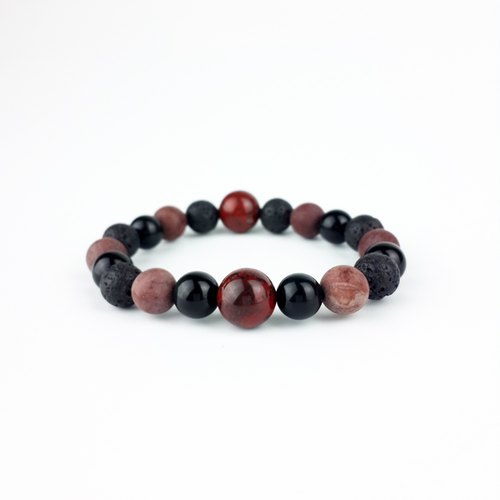 | Simple Series | Icy Fire - Sparks Redstone Scrub Flower Stone Rainbow Eye Obsidian Volcanic Rock (Bracelet x Bracelet x Handmade x. Customized.)