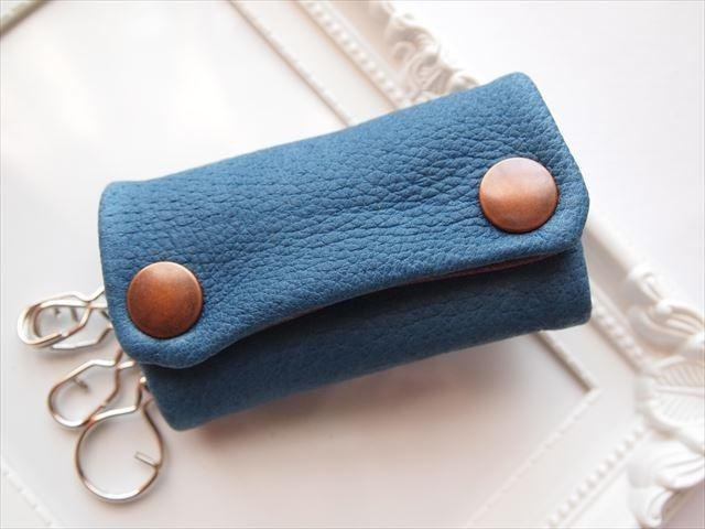 [Classic Blue] pig leather soft key case [MTO] blue leather