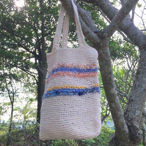 Simple line style hand-made shoulder bag / ramie / texture woven bag / bag / backpack side